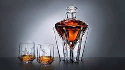 johnnie walker whiskey, deer, ducks, table, fine vessels of glass, glass bottle, diamond ...