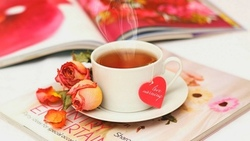 love, flowers, rose, table, petals, чашка, journal, drink, tea, чай, roses, cup, heart ...