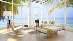 modern , interior, sea view, beach loft, bed, luxury , chairs, stylish , design , apartment  ...