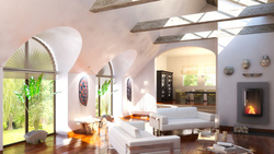 loft , stylish , home design , chairs, interior, интерьер, fireplace, стильная ...