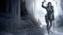 rise of the tomb raider, video games, lara croft, ice, winter