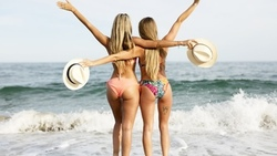 women, ass, blonde, hat, back, arms up, bikini, sea, women outdoors, tattoo, tanned, depth of field, long hair ...