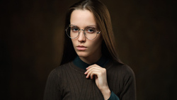 women, portrait, face, simple background, women with glasses
