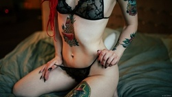 Stanimira Alioshina, dreadlocks, tattoo, in bed, kneeling, redhead, belly, black lingerie, holding panties, see-through clothing, black nails, depth of field, women ...
