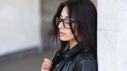 women, Maksim Romanov, portrait, women with glasses, red nails, closed eyes, leather jackets, depth of field ...