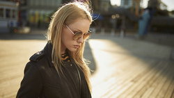 women, blonde, portrait, leather jackets, sunglasses, depth of field, women outdoors ...