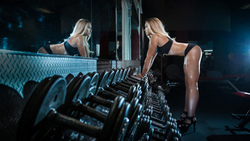 women, blonde, fitness model, tanned, mirror, gyms, sports, high heels, ass, dumbbells, belly, reflection, sportswear ...