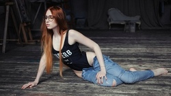 women, redhead, one-piece swimsuit, monokinis, women with glasses, on the floor, red nails, long hair, pants, torn jeans, pants down, hips ...