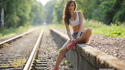 Guenter Stoehr, women, railway, sneakers, white tops, jean shorts, tanned, belly, women outdoors, depth of field ...