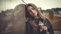 women, portrait, leather jackets, women outdoors, depth of field, reflection ...