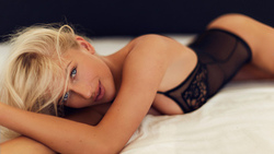 women, blonde, black lingerie, ass, in bed, blue eyes
