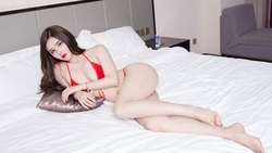 women, Asian, in bed, ass, red nails, red lipstick, belly, red bikinis