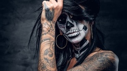 fingers, tattoos, woman, hands, hatter, makeup, feather, day of the dead