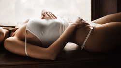 atherine imokhina, women, tanned, white panties, lying on back, maxim maximov, belly, pierced navel, choker ...
