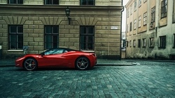 urban, errari 458 talia, car, errari 458, building, city, cobblestone, errari, supercar, red, street ...