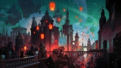 dome, lanterns, balcony, architecture, fantasy castle, buildings, fantasy art, church, digital art, planetary rings, galaxy, train, artwork, man, stars, fantasy, fantasy city, astle, city, cityscape, tower, bridge, planet ...