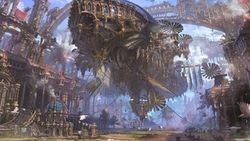 street, futuristic, airship, teampunk, city, ruins, steampunk airship, streetlight, fantasy, artwork, ropes, painting, fantasy art, people, buildings, birds ...