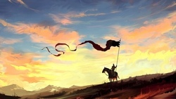 dragon, banner, clouds, artwork, painting, digital art, fantasy, fantasy art, night, horse, spear, countryside, sky, nature, landscape ...