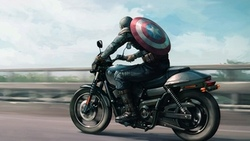 fantasy, road, shield, comics, aptain merica, fantasy art, arvel omics, superhero, digital art, motorcycle, artwork, situation ...