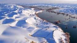 snowy landscape, snow, river, landscape, dunes, hina, trees, water, sky, nature, winter ...