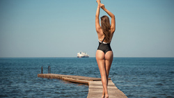 women, ass, sea, women outdoors, the gap, arms up, pier, onepiece swimsuit, tanned, back ...