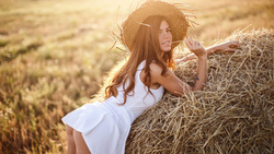 women, hat, ass, tattoo, hay, white dress, portrait, women outdoors