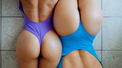 women, ass, top view, brunette, onepiece swimsuit, water drops, back, two women, the gap, on the floor ...