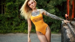 women, blonde, tattoo, painted nails, portrait, esia rojorina, onepiece swimsuit, women outdoors, make up ...