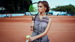 women, portrait, tennis balls, tennis rackets, women outdoors