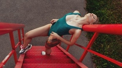 women, onepiece swimsuit, closed eyes, stairs, tattoo, ike, sneakers, nipples through clothing, black nails, necklace ...
