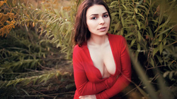 women, cleavage, portrait, boobs, women outdoors, red dress, sitting