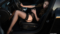 women, uenter toehr, black lingerie, high heels, garter belt, closed eyes, sitting, women with cars ...