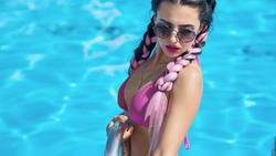women, mitry n, portrait, sunglasses, bikini, pigtails, swimming pool