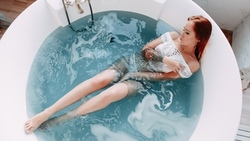 women, redhead, bathtub, brunette, tattoo, top view, white panties, pierced navel, white nails, wet body, necklace, water ...