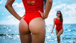 women, sea, ass, two women, the gap, hands on hips, sunglasses, onepiece swimsuitwomen, onepiece swimsuit ...