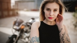 women, blonde, black clothing, tattoo, portrait, women with motorcycles, women outdoors, amaha, nose ring ...