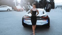 women, lexander elavin, high heels, women with cars, black dress, women outdoors, tight dress ...