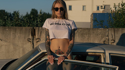 women, blonde, tattoo, women with cars, sunglasses, belly, women outdoors, crop top, white panties, portrait, painted nails ...