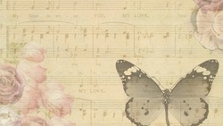 butterfly, music, vintage, notes