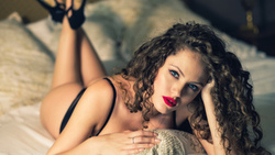 women, curly hair, blue eyes, ass, in bed, portrait, ntonio irlando, black lingerie, pillow, lying on front, high heels, feet in the air, pink nails ...