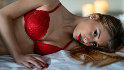 women, red bra, eyeliner, red lingerie, blonde, red nails, in bed, candles, red lipstick ...
