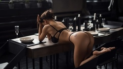 women, black lingerie, ass, brunette, tattoo, drinking glass, candles, table, chair, plates, ribs ...