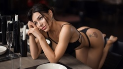 women, black lingerie, brunette, table, chair, ass, candles, drinking glass, plates, kneeling, tattoo, gray eyes ...
