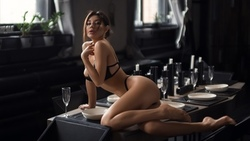 women, black lingerie, brunette, table, chair, ass, window, candles, drinking glass, plates, belly ...