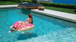 ass, redhead, swimming pool, brunette, sea, women outdoors, inflatable rings, sunglasses, bikini, wet body, water drops ...