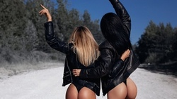 women, leather jackets, ass, road, back, blonde, the gap, black panties, women outdoors, black hair, two women ...