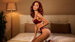 women, redhead, ass, lamp, kneeling, in bed, pillow, red lingerie, plants