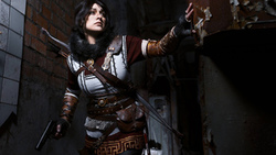 weapon woman cosplay, brunette ara roft bow, gloves arrow
