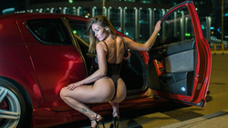 women, blonde, squatting, ass, tattoo, brunette, women with cars, high heels, women outdoors, onepiece swimsuit ...