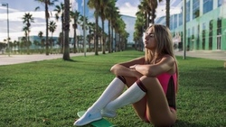 women, brunette, blonde, building, grass, palm trees, onepiece swimsuit, skateboard, sitting, ass, kneehighs, white stockings, women outdoors, shoes, closed eyes ...